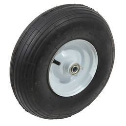 "Pneumatic Wheel. 350 lbs. Load Rating. 3"" Hub Length. 5/8"" Ball Bearing. Ribbed Tread. 2-ply Rating"